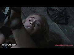 A sizzling blonde worn out by endless orgasms in tight bondage
