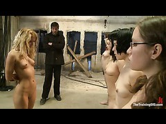 Two willing slave girls get picked to continue the training
