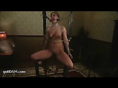 A shapely blonde goes anxious from tortures in tight bondage