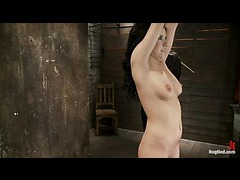A super cute babe cums and suffers fiercely in her first bondage shoot