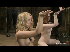 Blond and redheaded trainees learn to swallow and please long cocks