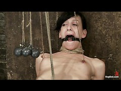 A multi orgasmic slut cums fiercely while her nipples are tortured