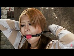 A hot Japanese cutie whimpering in her first bondage scene