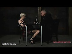 Cherry Torn gets her ass pumped with wine while suffocating in restraints