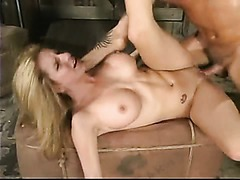 Blonde with big tits spanked and whipped hard gets fucked and busted