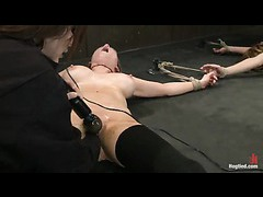 Two squirting sluts tied down and overloaded with brutal orgasms
