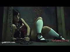 A horny girl restrained with chains and pushed beyond her limits