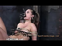 A sexy whore questioned in predicament bondage