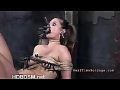 A sexy whore questioned in predicament bondage