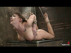 An ass-hooked hottie orgasms viciously with a cock in her throat