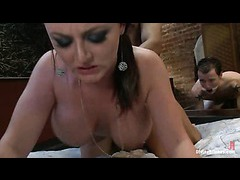 Sophie Dee makes her slave in chastity eat cum of well hung studs