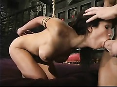 Scared whore with delicious body and tits gets her nipples clipped before a good bondage