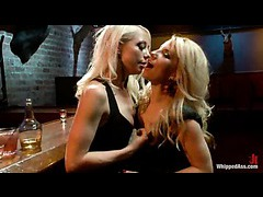 Two stunning blondes switching roles in hardcore lesbian sex