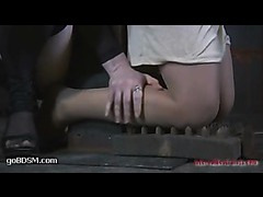 A sexy cutie in pantyhose taking full force caning and whipping