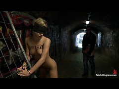 A hot European blonde stripped and handcuffed for rough public sex