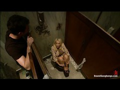 a gorgeous busty blonde gangbanged in men bathroom by four guys