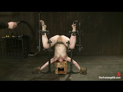 A tough slave trainee tortured in extreme predicament bondage