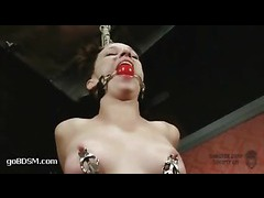 A lusty slut gets her wet pussy and ass whipped mercilessly