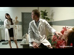 A hot babe with shapely butt fucked by doctor and nurse