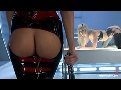 A hot blonde in sexy latex gets her tight ass exploited in a threesome