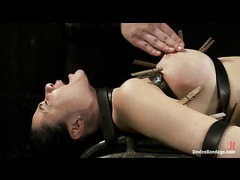 A busty MILF processing extreme orgasms and pain in bondage