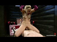 A sultry mistress puts her slaveboy through the paces