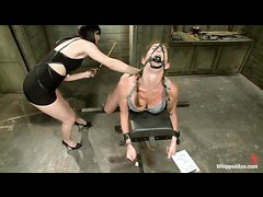 Felony squirts all over when fiercely fucked by hot dominatrix