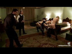 Three charming house slaves exposing pain tolerance and orgasm control