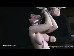 A disgraced slut takes suction cups on her bruised boobs