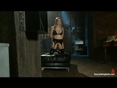 A fervent pain slut gets double dominated and ass fucked