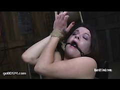 A defenseless slut tormented relentlessly in tight rope bondage