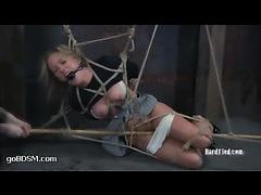 Dia Zerva gets her tits and nipples tortured in elaborate bondage