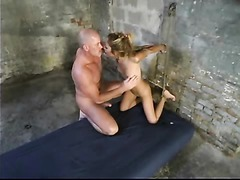 Sexy brunette bitch with awesome eyes spanked and imobilized