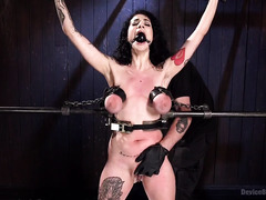 Sensational flogging and caning experiences for bounded raven-haired beauty