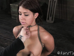 Sweet young chick moans wildly from master's painful bondage and ass spanking