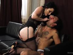Submissive husband has to pay his demanding wife with cash in order to please her