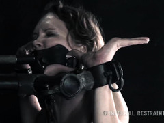 Painful and wicked ass trauma for gagged and bounded submissive brunette