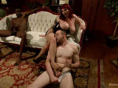 Big tits redhead wife gets a black stud to impregnate her in hot cuckold sex