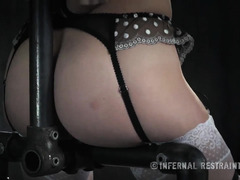 Beauty on the pole gets her pussy stimulated and punished by demanding master