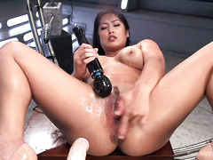 Double fucking machines penetration for big boobs Asian sweetheart