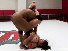 Delightful lesbian domination between busty ebony and hot tattooed latino
