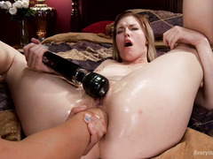 Attractive blonde surrenders her butt hole for Asian mistress lusty delight