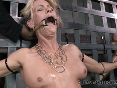 Rough and tough deepthroating punishment for bounded big boobs blonde slave