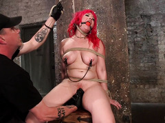 Punishing breathplay for naughty redhead beauty with big pierced boobs