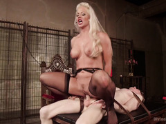 Submissive slave stud is nothing but sexy blonde mistress's worthless fuck toy