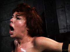 Humiliating big boobs brunette with excessive deepthroating and breath play