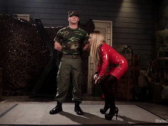Handsome soldier is punished by a horny and demanding big tits blonde mistress