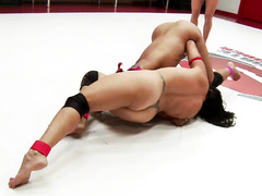 Rough and exciting naked wrestling fight between hot ebony and latino babes