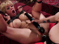 Mistress wants to keep blonde's clit nice and sensitive by punishing it wildly