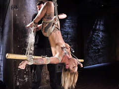 Blonde tattooed beauty begs for master to let her cum during punishment